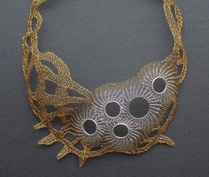 CALYPSO Silver and Brass Wire Crocheted Bib by Ksemi on Etsy, $198.00