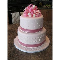 Pink White Mother's Day or Birthday Cake ❤ liked on Polyvore featuring cakes