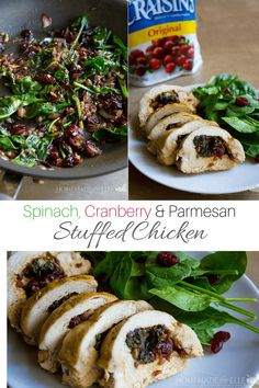 Spinach and Cranberry Stuffed Chicken | homemadeforelle.com  #spinach #cranberry #chicken