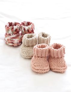 Baby's Booties | Yarn | Free Knitting Patterns | Crochet Patterns | Yarnspirations