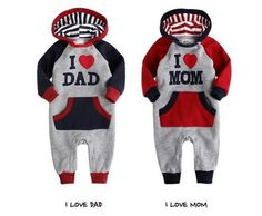 I Love Mom and I Love Dad Hooded Jumpsuit Romper