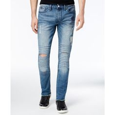 Guess Men's Slim-Fit Ripped Jeans ($51) ❤ liked on Polyvore featuring men's fashion, men's clothing, men's jeans, open, mens jeans, mens ripped jeans, mens destroyed jeans, mens distressed jeans and mens torn jeans