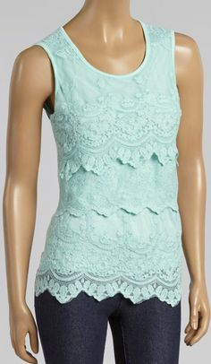 Mint Lace Tier Sleeveless Top