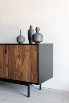 """80""""W + 20""""D + 28""""H INDUSTRIAL STEEL +BIRCH + WALNUT POLY + OILFINISH //CUSTOMIZE THIS PIECE  The Kings Credenza by Croft House is handmade locally in Los Ang"""