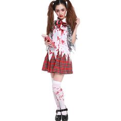 Red Plaid Print Horror Costume (166025 PYG) ❤ liked on Polyvore featuring costumes, red, zombie costume, zombie halloween costumes, white costume, horror halloween costumes and zombie school girl costumes
