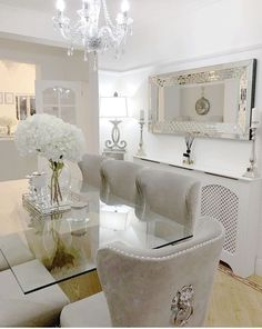 Dining Room Decor - Get the Modern Dining Room Furniture For Your Home Dining Room Table Decor, Elegant Dining Room, Luxury Dining Room, Dining Room Design, Dining Furniture, Furniture Ideas, Formal Dining Rooms, Glass Dining Table, White Dining Rooms