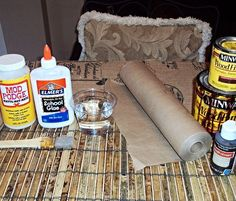 how to create a faux leather finish using brown paper, painted furniture, repurposing upcycling, Supplies you ll need Elmer s Glue and water...