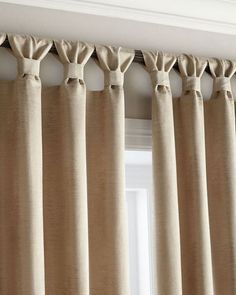 Tab curtains - a little different - Diy Crafts for The HomeEasy stylish update to tab top curtains, classy finishLots of people know just how crucial it is to have lovely kitchen curtains as decor in your home. Possibly if you spend sufficient time i Tab Curtains, Curtains With Blinds, Kitchen Curtains, Sewing Curtains, Burlap Curtains, Valances, How To Make Curtains, Curtain Styles, Curtain Designs