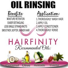 While constantly learning about natural hair and the methods to help it thrive I've stumbled onto a new process… well a new process to me: Oil Rinsing. Oil Rinsing a method used during your wash day in which you add oil to your hair after you have shampooed but before …Share this: