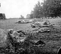 Alexander Gardner's photo of the outcome for some soldiers during the battle at Gettysburg during the American Civil War.