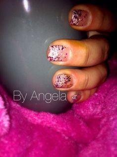 #Glitter #nail #art #christmas #mood #pink #white #french #purple