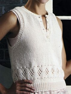 """Free Knitting Pattern for Diamond Lace Top - Free for a couple of weeks from Leisure Arts. Sleeveless pullover top with diamond motifs. Sizes: Small - 36"""" Medium - 40"""" Large - 44"""". Click on the pin or link below and scroll to the bottom of page for free patterns http://www.shareasale.com/r.cfm?u=1112880&b=146498&m=19565&afftrack=diamondpin&urllink=www%2Eleisurearts%2Ecom%2Ffree%2Dpattern%2Dfriday%2Db%2Da"""