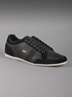 Lacoste® Men's Alisos 8 Leather Shoe in Black.  Don't  worry about laces anymore with these low profile black leather shoes  with suede accents. Features a strap that crosses your instep diagonally  and has an embossed crocodile logo on the side.