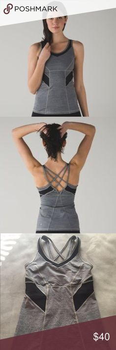 Lululemon Strap It Like Its Hot Tank • Grey and black strappy Lulu workout tank, Never been worn! lululemon athletica Tops Tank Tops