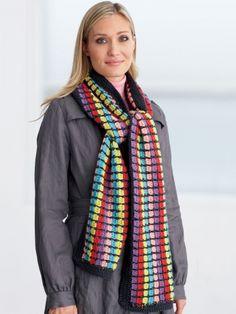 Multi-Colored Scarf | Yarn | Free Knitting Patterns | Crochet Patterns | Yarnspirations