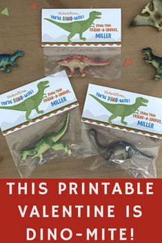 Hey Friend-A-Saurus...have a DINO-mite Valentine's Day! This listing is for Printable Valentine's Day Bag Toppers with a dinosaur theme. #dinosaur #valentine #printable #classroom #etsy #ad