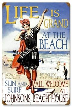 Vintage and Retro Wall Decor - JackandFriends.com - Retro Beach House Tin Sign  - Personalized, $84.97 (http://www.jackandfriends.com/vintage-beach-house-metal-sign-large/)