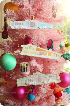 Mid Century christmas village ornaments. Free printable - B&W or color #christmas #ornaments #printables