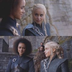 Missandei and daenerys Game Of Thrones Khaleesi, Game Of Thrones Tv, Daenerys Targaryen, Two Girls, Baby Girls, Game Of Trones, Addicted Series, Iron Throne, Mother Of Dragons
