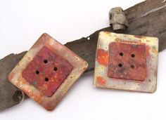 PAIR of Square in Square Copper Buttons - Copper Buttons - Decorative Buttons - 1 3/16 inch. $14.00, via Etsy.