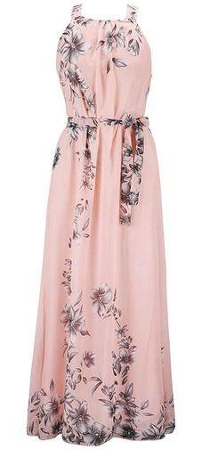 Maxi Dress Pink Women s Plus Size US 1X Casual Sleeveless Summer Chiffon New  #Chinmoon