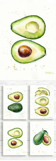 Set of 4 Avocado watercolor Prints