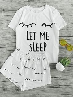 Loungewear by BORNTOWEAR. Closed Eyes Print Tee And Shorts Pajama Set