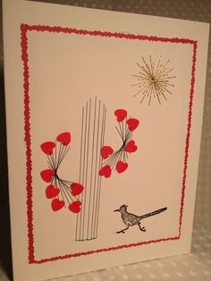 Valentines card something I made in desert hot springs for my daughter with a road runner stitched  ,stamp