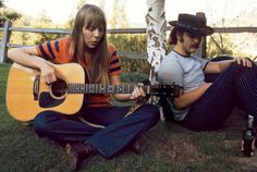 Joni Mitchell and David Crosby in Los Angeles, where he took her to start her recording career, 1968. By Henry Diltz.
