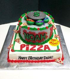 Ninja Turtles cake with pizza box