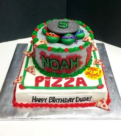 Ninja Turtles cake with pizza box