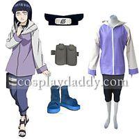 Naruto Shippuden Hinata Hyuga Cosplay Costume Outfit+bag+shoes+headband