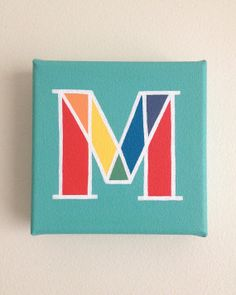 M Initial Letter Mini Painting Monogram Nursery Art Acrylic on Canvas (5 x 5 in)