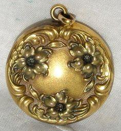 Antique Art Nouveau Flower Photo Locket Pendant | eBay