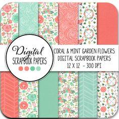 Digital Papers - Coral & Mint Flower Garden - Instant Digital Download
