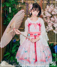 Doris Night -Cherry Blossom in Bunny's Garden- Kimono Style Wa Lolita Jumper Dress #Leftovers