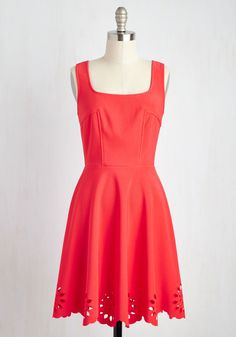 Eyelet Getaway Dress in Carnation. Escape into an evening enchanted by this bright coral-pink dress! #red #modcloth