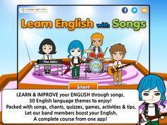 learn english with animated songs = practice 30 different themes = video lessons, with songs, quizzes, games = help you learn or teach English.= Meeting & greeting people / Favorites / Home & furniture / Using 'Can' (Asking for Permission) / Question Words (Who, Why, What, When, Where & How) / Hobbies & Pastimes / Vacations/Holidays / School Subjects / Daily Routines (Adverbs of frequency) / Can & Can't (Ability) / Directions / Describing people / Present continuous tense ...............$…