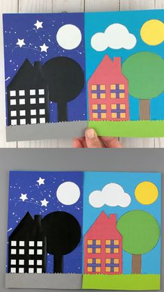 Day and night craft for preschoolers, kindergartners and older kids. Use the house, tree, sun, moon and cloud template for this easy paper craft Halloween Crafts For Toddlers, Summer Crafts For Kids, Toddler Crafts, Art For Kids, Spring Crafts, Preschool Art Activities, Kindergarten Crafts, Classroom Crafts, Spanish Activities