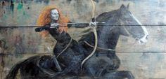 2015.02. Wood desks panel, 49 x 100 cm, acryl, varnish  Rider with a bow