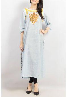 Sky blue marina lawn kurta with yellow lace Yellow Lace, White Lace, Long Kurtis, Kurta Neck Design, Pakistani Dresses, Dress Collection, Cold Shoulder Dress, Tunic Tops, Shirt Dress