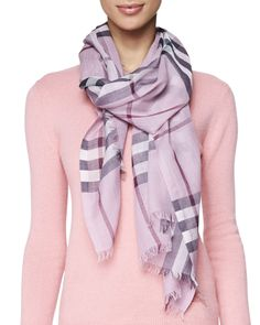 Giant Check Gauze Scarf, Pink Heather