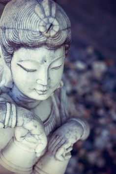 A statue of Kwan Yin... I can't find the original source of where to find this beautiful work of art, though. I'll locate something like her to help create a space of awareness and observation in my garden this Spring.
