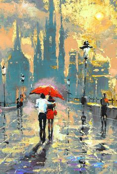 You & Me - Palette kniffe Oil Painting On Canvas By Dmitry Best gift You & Me - Palette Dirk oil pai Romantic Art, Art Painting, Painting People, Oil Painting Landscape, Oil Painting On Canvas, Abstract Painting, Oil Painting, Umbrella Art, Canvas Painting
