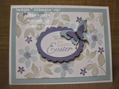 Stampin'Up!,  Summer Silhouettes, Easter Blessings, butterfly punches all go together to make a pretty card, check my blog for more details - stampingandmusing.blogspot.com