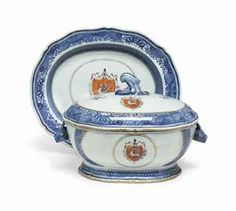 A CHINESE EXPORT ARMORIAL SOUP TUREEN, COVER AND STAND   MID 18TH CENTURY
