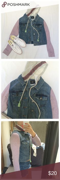 BDG jean jacket BDG Urban Outfitters Jean jacket with pink knit sleeves. Grey hood with tribal print lining around it. Such an adorable jacket. One tiny stain on the left arm but not noticeable on. BDG Jackets & Coats Jean Jackets