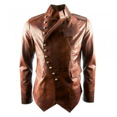 Impero London Signature Luxury Mens Military Fitted Tan Leather Jacket. I don't care if it's a men's coat. It's gorgeous.