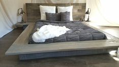 Christine Modern sleek Low Platform solid wood Bed attached nightstand tables in 2019 Bedroom Bed, Bedroom Furniture, Pallet Furniture, Bedroom Ideas, Plataform Bed, Reclaimed Wood Bed Frame, Low Wooden Bed Frame, Floating Bed Frame, Floating Nightstand