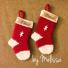 Crochet stocking ornament. Pattern can be found here: http://www.lemondedesucrette.com/2011/11/16/little-christmas-socks-the-pattern/